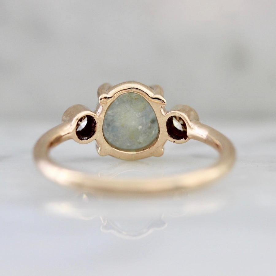 Sage Skies Rough Montana Sapphire and Champagne Diamond Ring