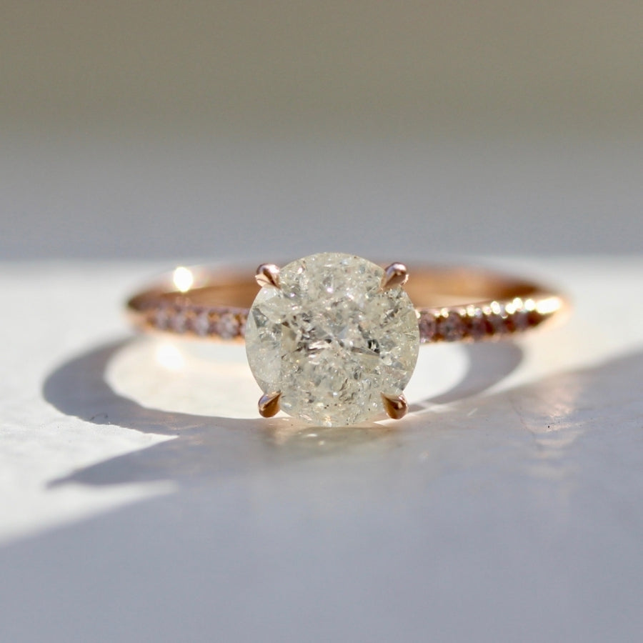 Siren Song Icy Grey Round Brilliant Cut Diamond Ring