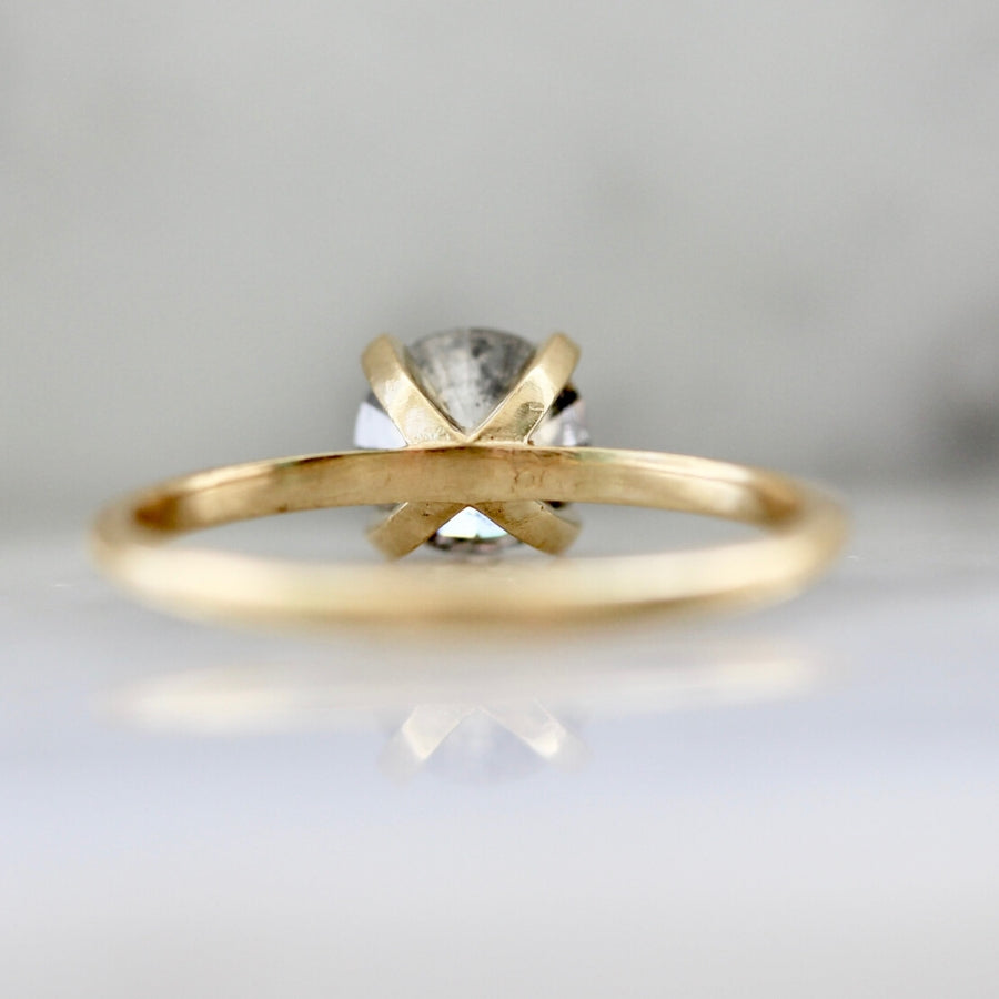 Stella 1.09 Carat Salt & Pepper Round Brilliant Cut Diamond Ring With Milgrain in Yellow Gold