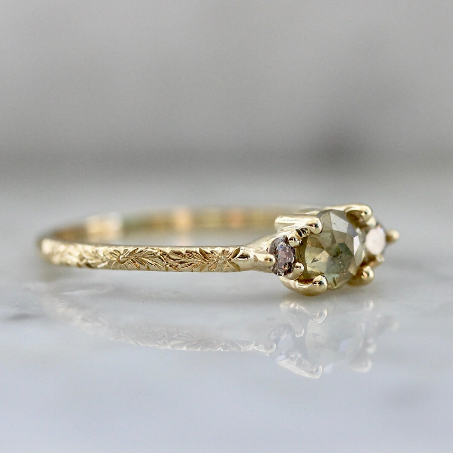 Shiloh Rustic Rose Cut Diamond Ring in Yellow Gold