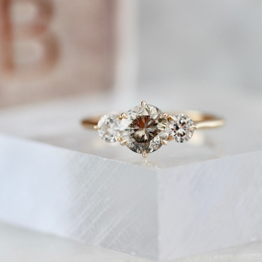 Sonnet Three Stone Champagne Salt & Pepper Diamond Ring