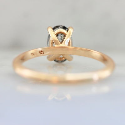 Stella Salt & Pepper Oval Cut Diamond In Peach Gold