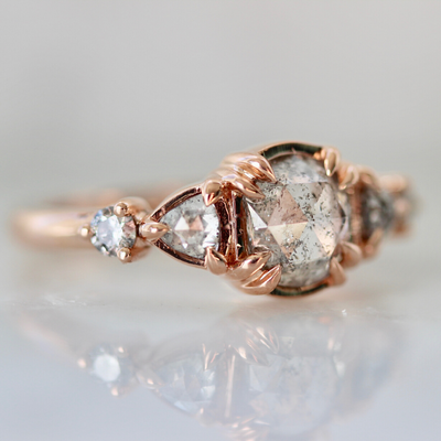 Piper Oval Salt & Pepper Rose Cut Diamond Ring in Rose Gold