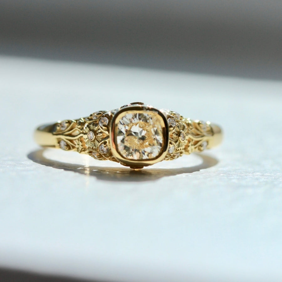 Bellis Cushion Cut Diamond Ring in Yellow Gold