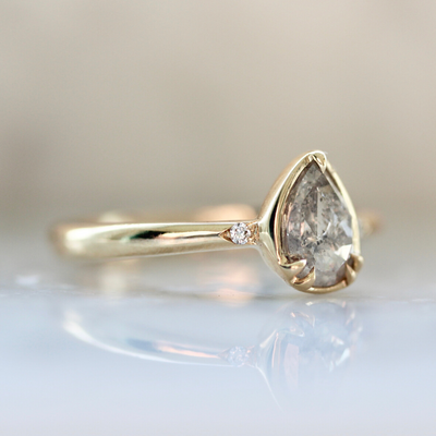 Avery Icey Pear Rose Cut Champagne Diamond Ring