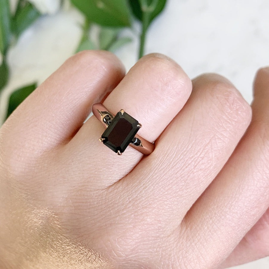 Seneca Emerald Cut Black Diamond Ring