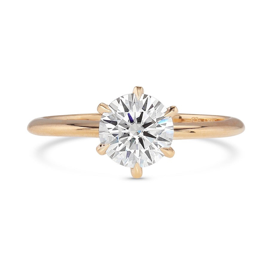 Create Your Own - Stella Skinny Shank Round Cut Six Prong Diamond Ring