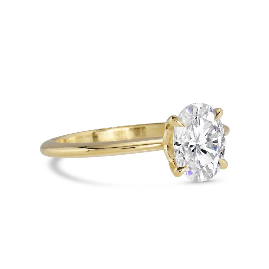 Create Your Own - Bella Skinny Shank Oval Cut Cut Four Prong Diamond Ring