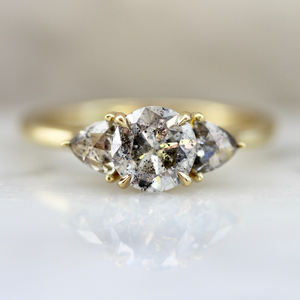 Drei Three Stone Salt and Pepper Diamond Ring