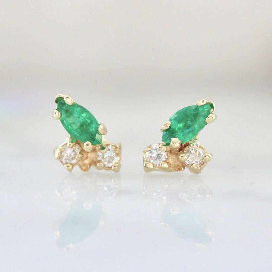 Pemberley Emerald & Diamond Studs