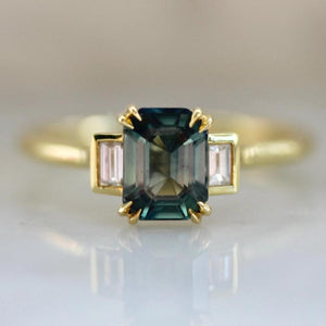 Camilla Green Sapphire and Diamond Ring in Yellow Gold