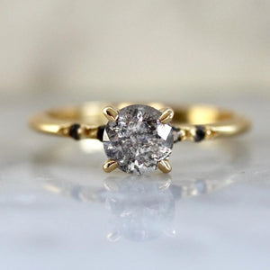 Stella Salt & Pepper Diamond Ring With Special Star Engraving