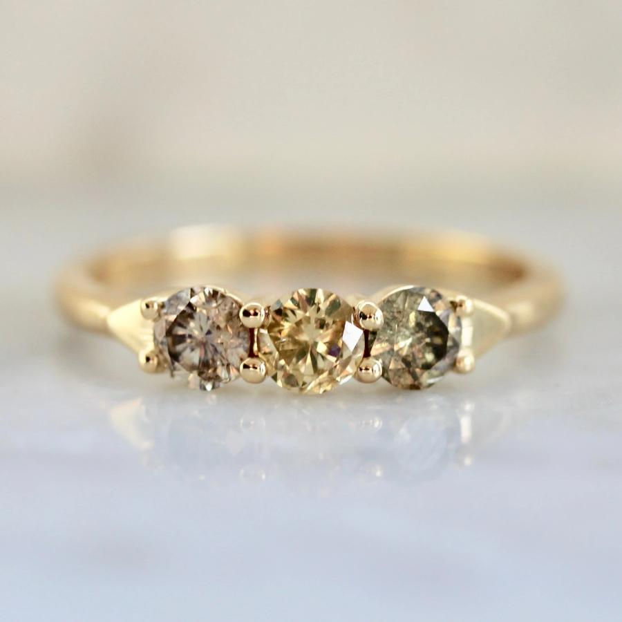 The Fates Mixed Colored Diamonds Three Stone Yellow Gold Ring