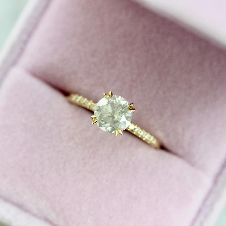 Nesa Icey Diamond Stella With Pave Shoulders In Yellow Gold