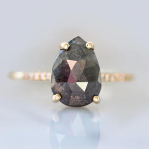 Mira Pear Rose Cut Grey Diamond Ring