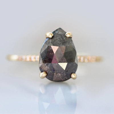 Mira Pear Rose Cut Grey Diamond Engagement Ring