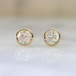 .51 Carats Total Unique Modified Fancy Round Brilliant Cut Diamond Studs