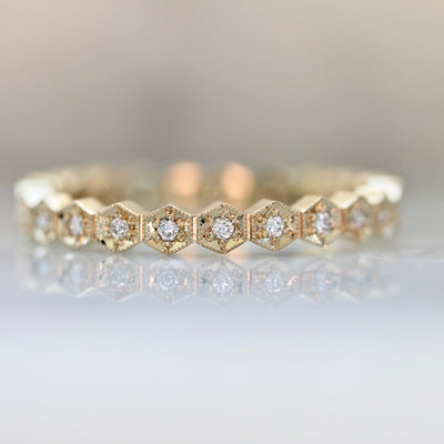 Honeycomb Hexagon Shaped Diamond Band