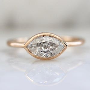 Misha Bezel Set Marquise Cut Salt & Pepper Diamond Ring In Rose Gold