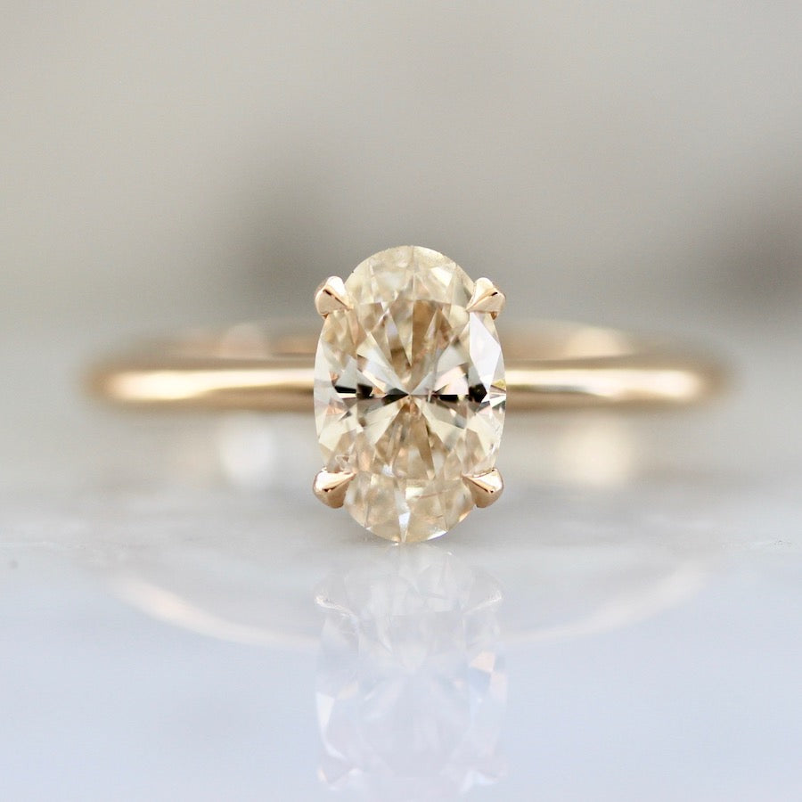 Ibiza Sun Champagne Oval Cut Diamond Ring In Peach Gold®