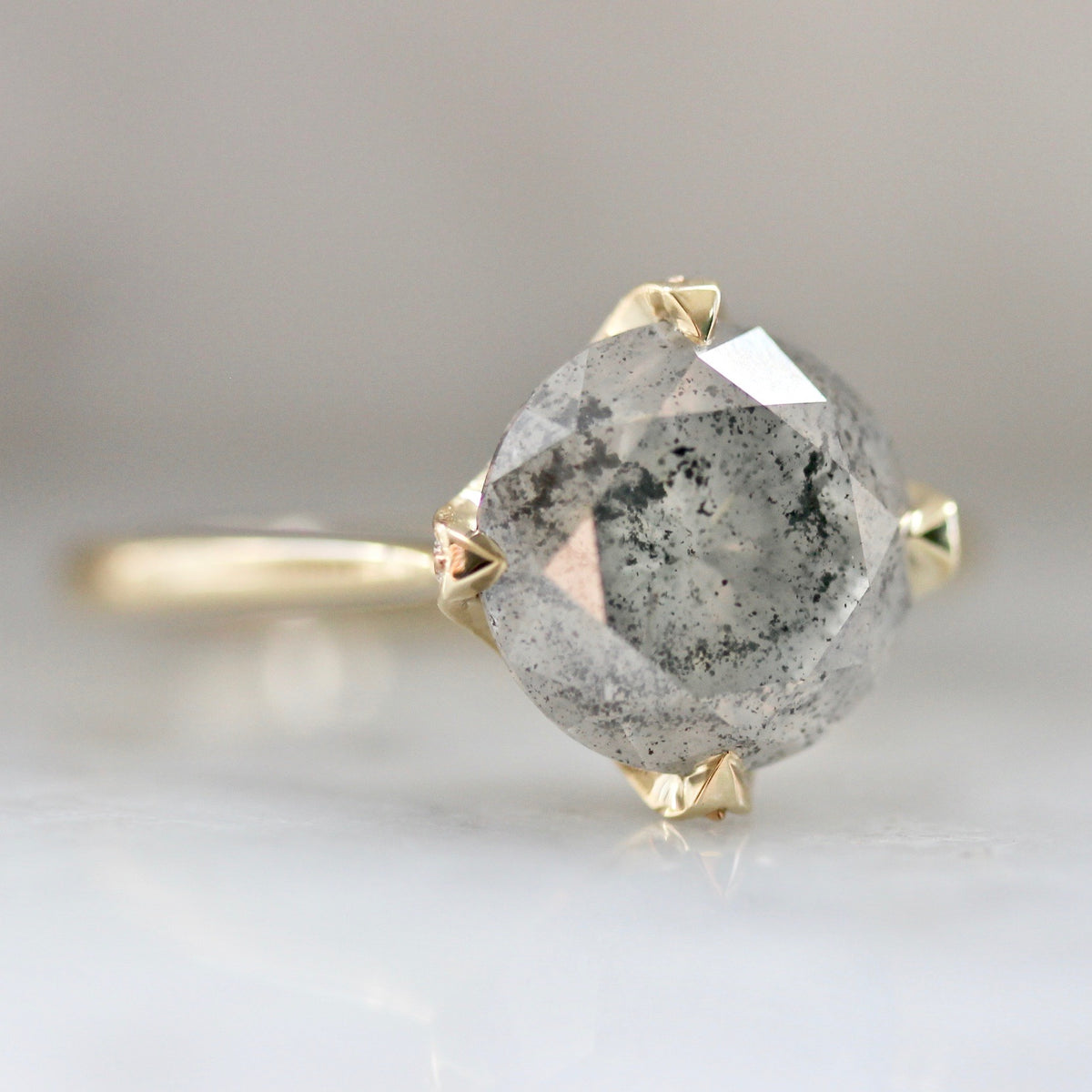 Reveille Round Cut Salt & Pepper Diamond Ring