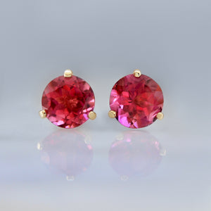 2.64 Carats Total Berry Tourmaline Earrings