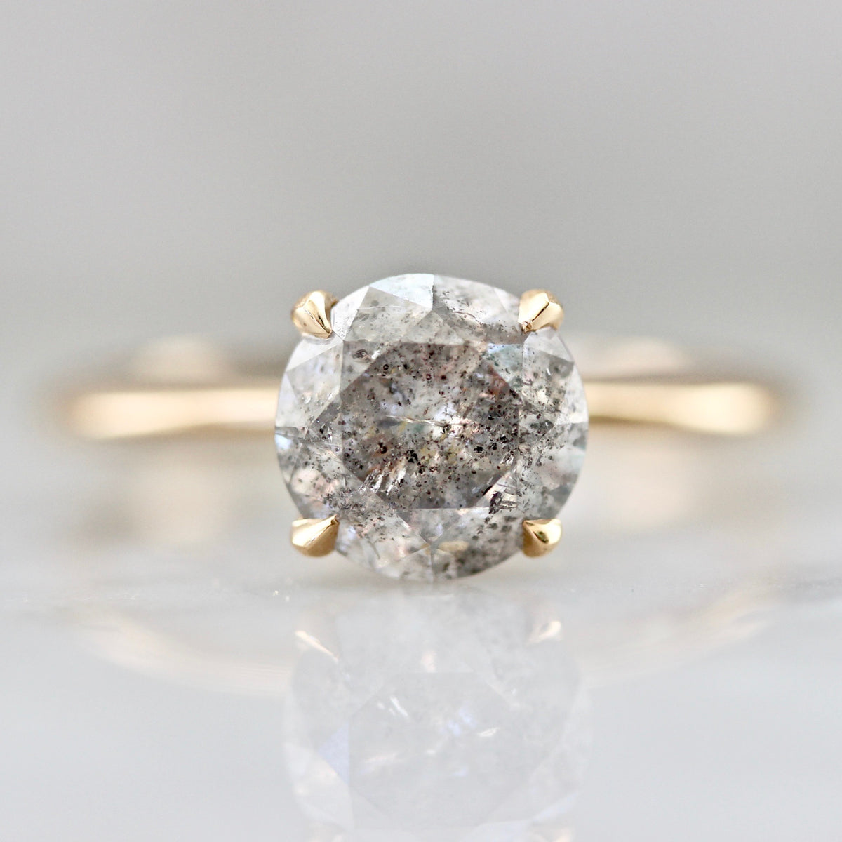 Stella Salt & Pepper Diamond Ring in Peach Gold®