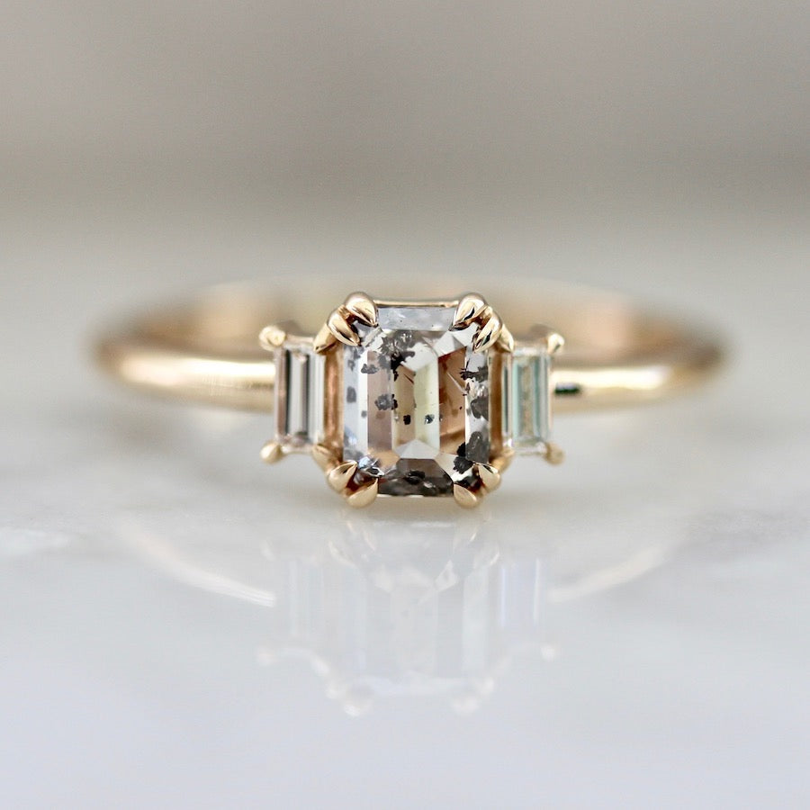 Lottie Emerald Cut Salt and Pepper Diamond Ring