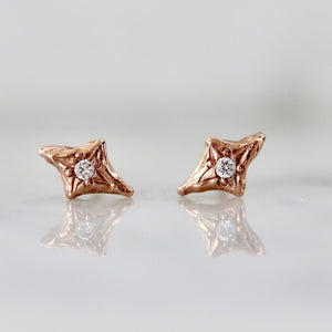 Hand Carved Rose Gold Diamond Earrings