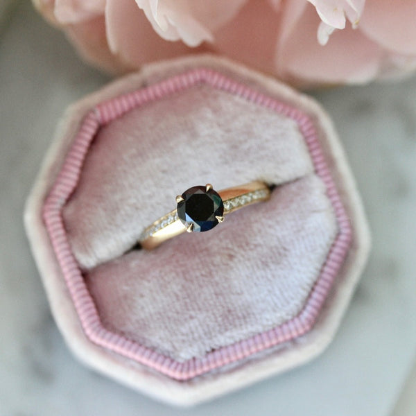 Nick Engel Ring Current Ring Size 5.75 Wallflower Round Cut Black Diamond Ring