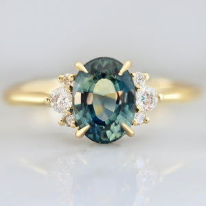 Mirella Teal Sapphire and Diamond Ring in Yellow Gold