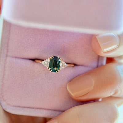 Arden Green Cushion Cut Sapphire & Diamond Trillion Ring
