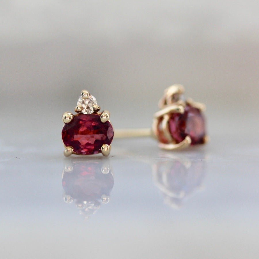 The Duo Berry Tourmaline & Diamond Earrings
