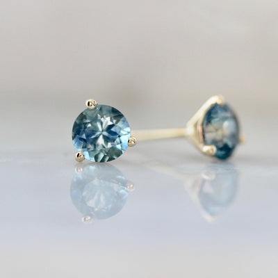 1.40 Carats Total Round Cut Teal Blue Montana Sapphire Earrings