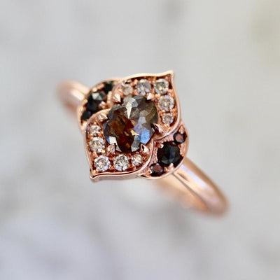 Dahlia Curvy Rose Gold Diamond Ring