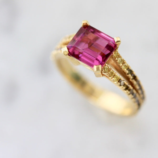 OctaHedron Ring Isla Emerald Cut Garnet and Diamond Medley Ring