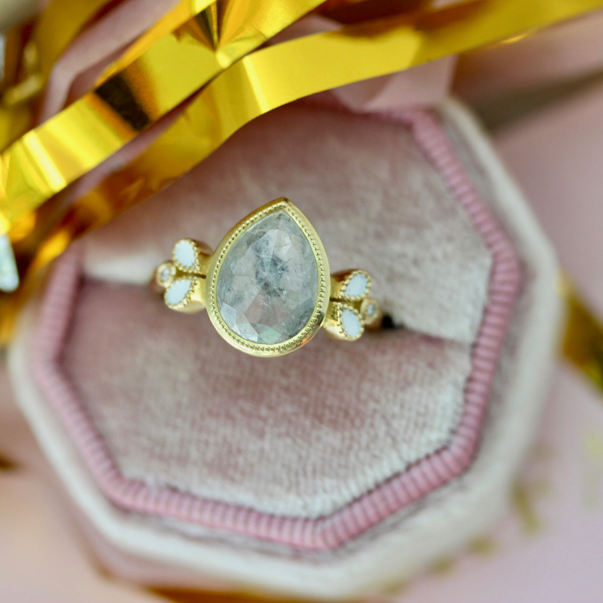 Magnolia Icey Pear Rose Cut Diamond Ring in Yellow Gold