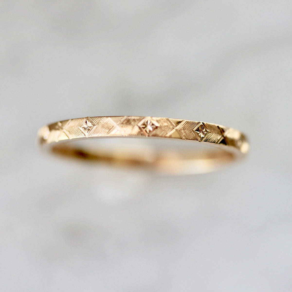 Starburst Engraved Gold Band