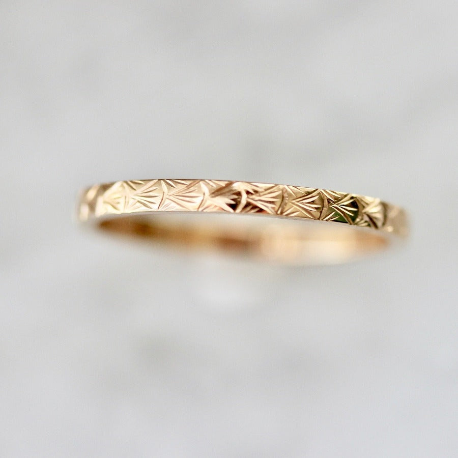 Run Wild Engraved Gold Band
