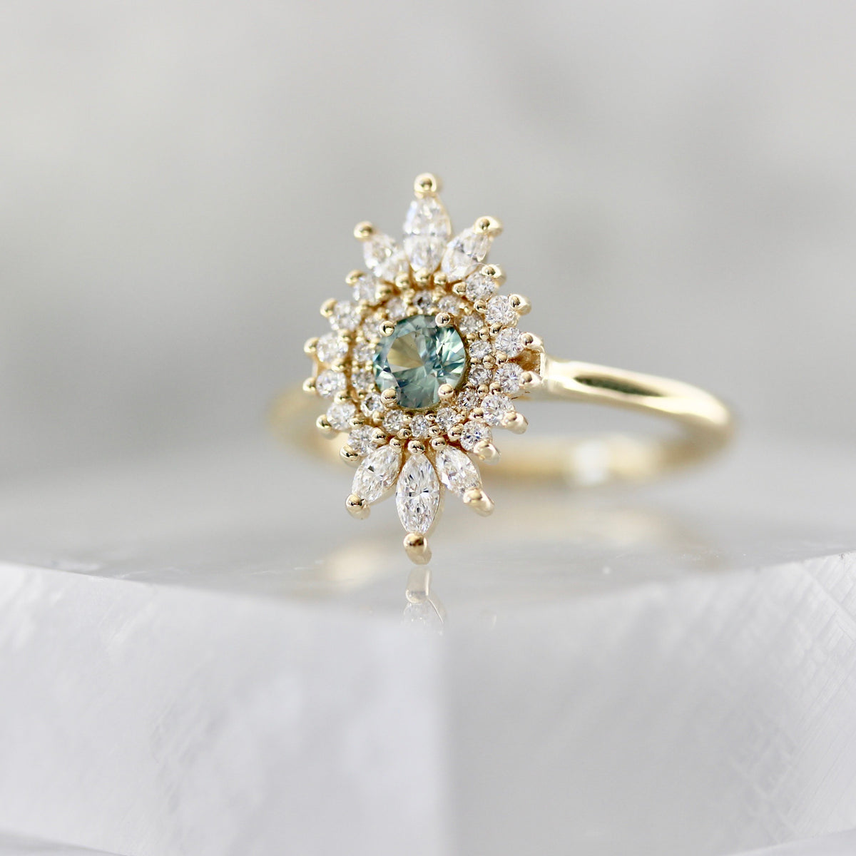 Jules Green Montana Sapphire & Diamond Double Halo Ring