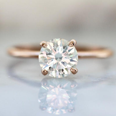 Create Your Own - Stella Skinny Shank Round Cut Four Prong Diamond Ring