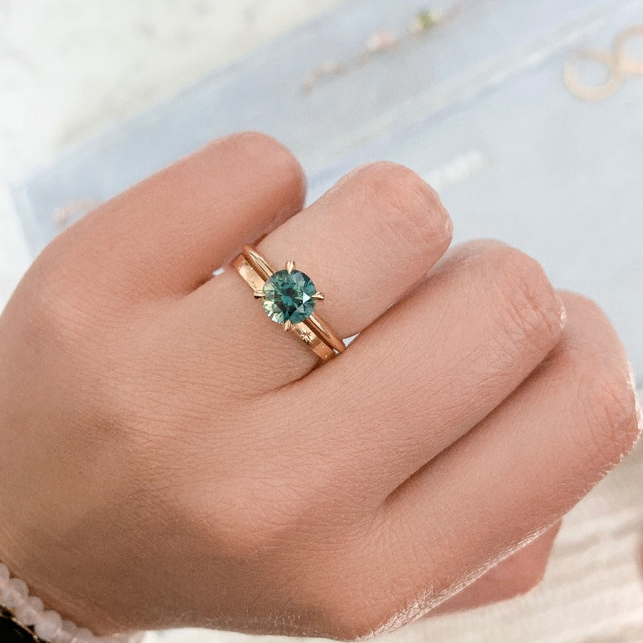 1.58 Carat Stella Bi-Color Blue-Green Round Cut Sapphire Ring in Peach Gold®