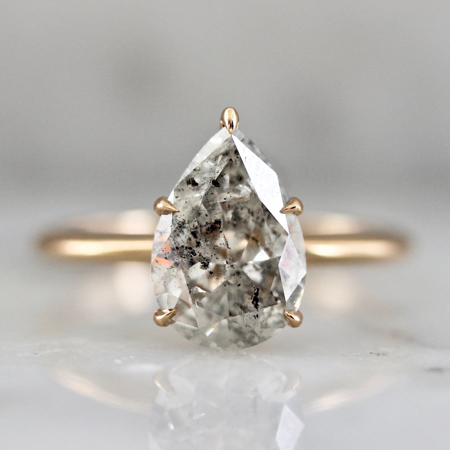 2.14 Carat Stella Grey Salt & Pepper Pear Cut Diamond Ring