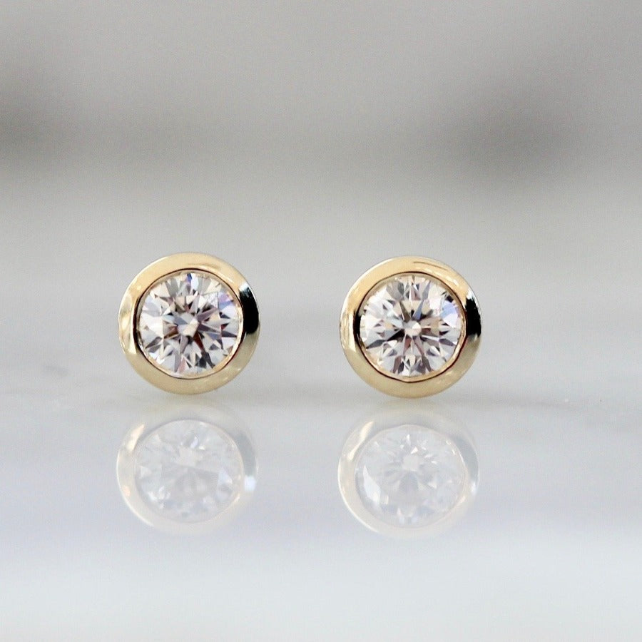 .21 Carats Total White Round Brilliant Cut Diamond Studs