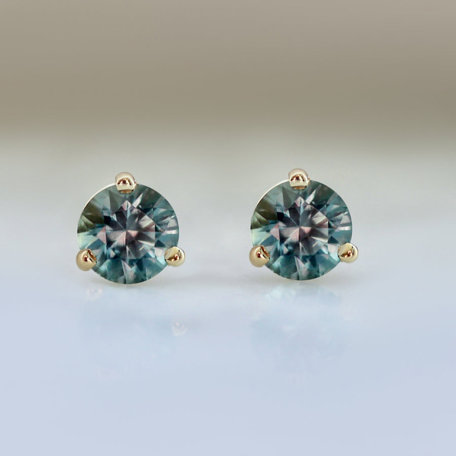 .82 Carats Total Round Cut Teal Montana Sapphire Earings