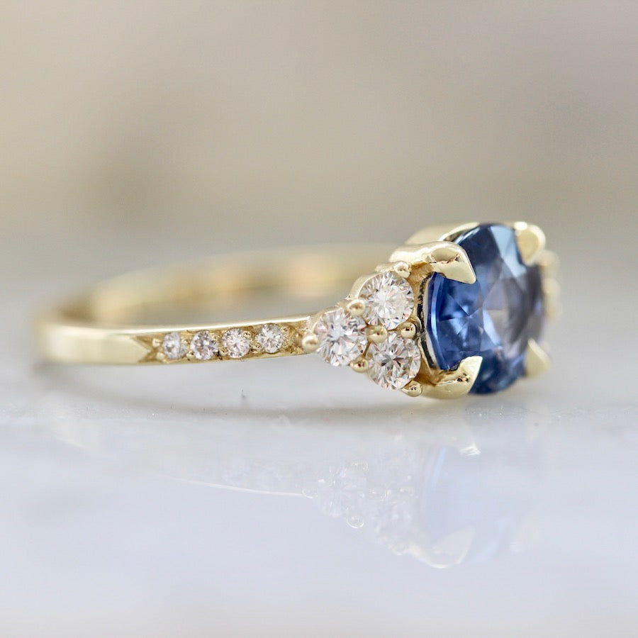 Blue Spritz Rose Cut Blue Sapphire & Diamond Ring