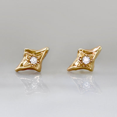 Nova Diamond Star Earrings in Yellow Gold