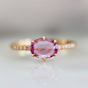 Duchess Hot Pink Oval Rose Cut Sapphire Ring in Peach Gold