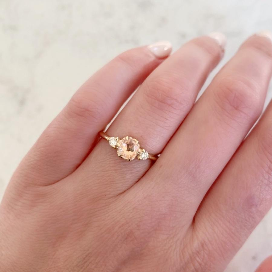 Aimee Kennedy Ring Current Ring Size 6.75 Everlasting Peach Sapphire & Diamond Ring