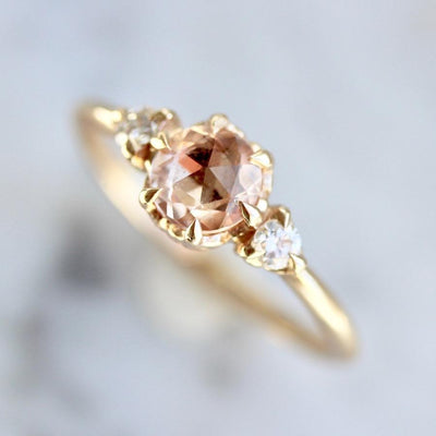 Aimee Kennedy Ring Everlasting Peach Sapphire & Diamond Ring